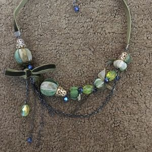 Jewelry - Green and blue velvet ornament necklace